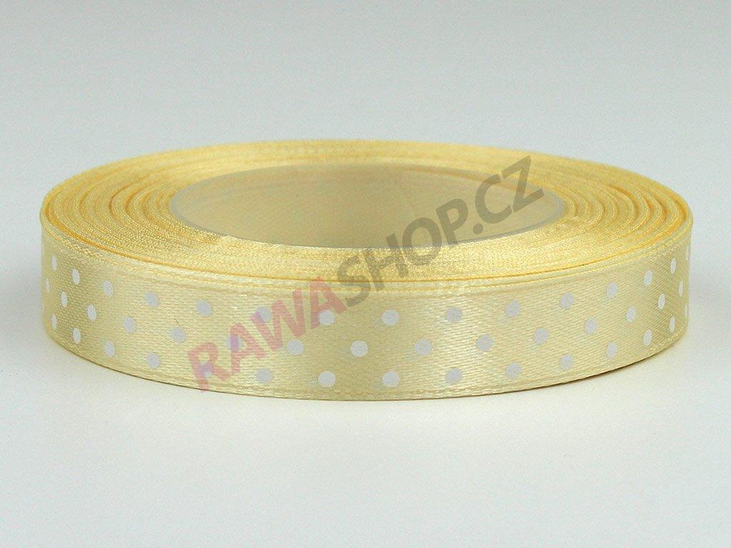 Saténová tečkovaná stuha 1,2cm - krémová