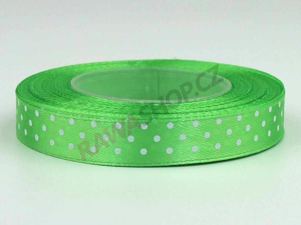 Saténová tečkovaná stuha 1,2cm - zelené jablko