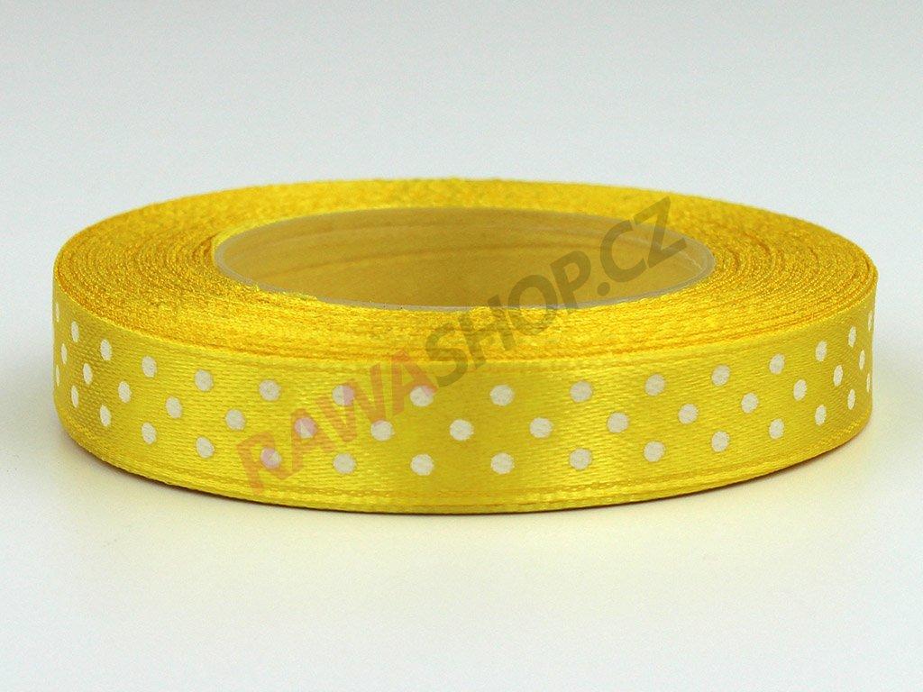 Saténová tečkovaná stuha 1,2cm - žlutá