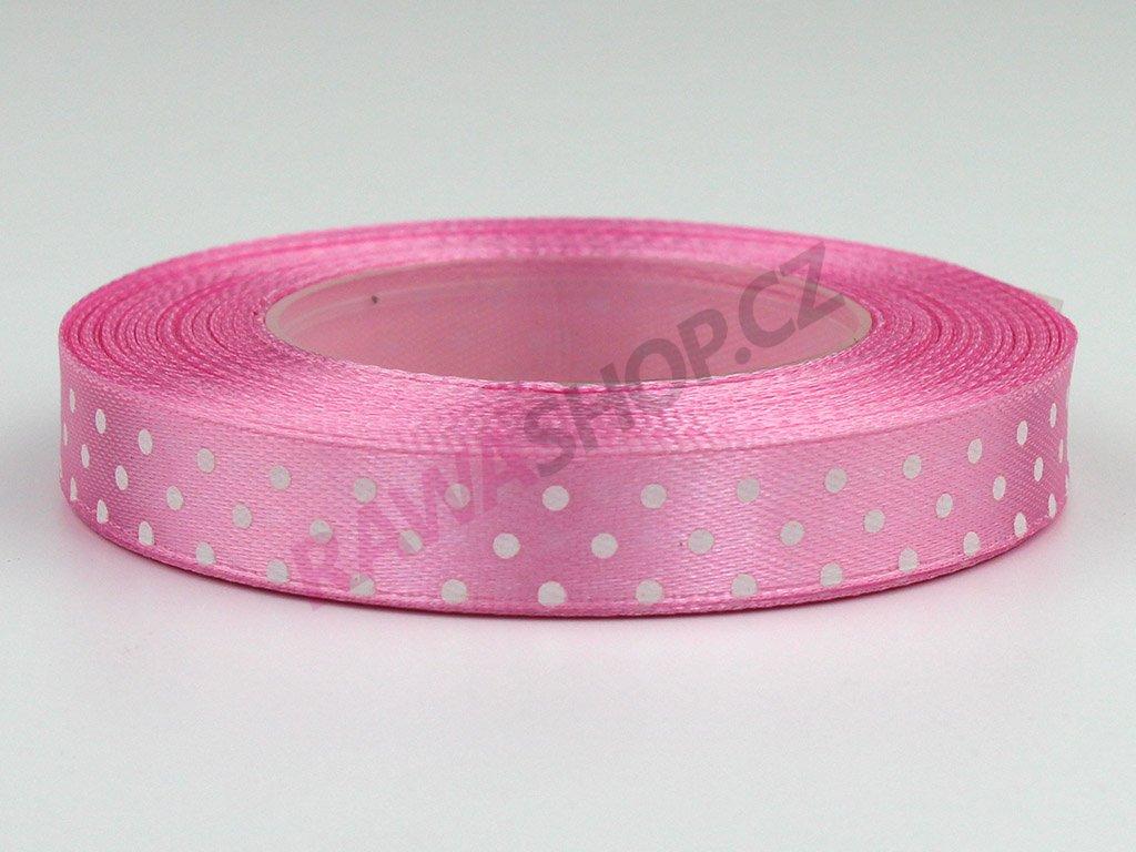 Saténová tečkovaná stuha 1,2cm - světle růžová
