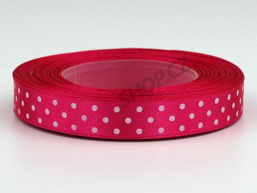 Saténová tečkovaná stuha 1,2cm - růžová