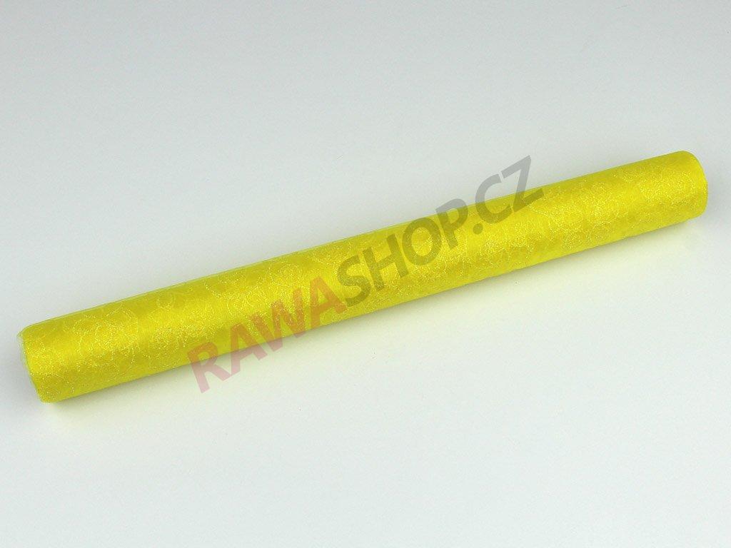 Organza s třpytky 36cm - žlutá