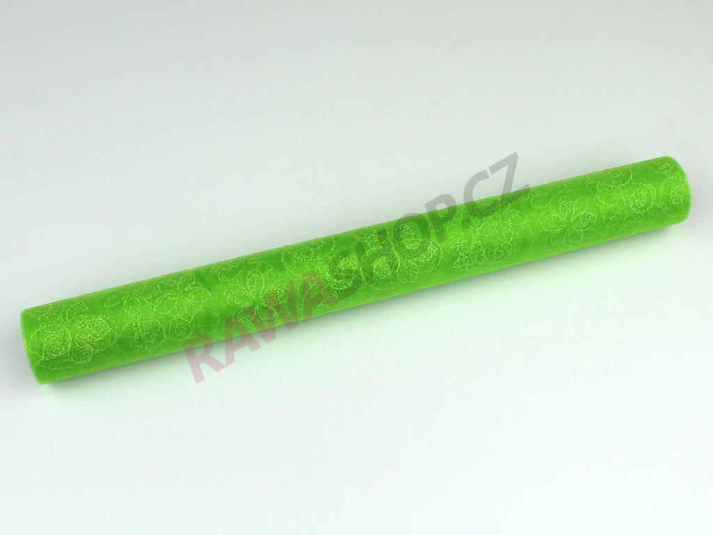 Organza s třpytky 36cm - zelená