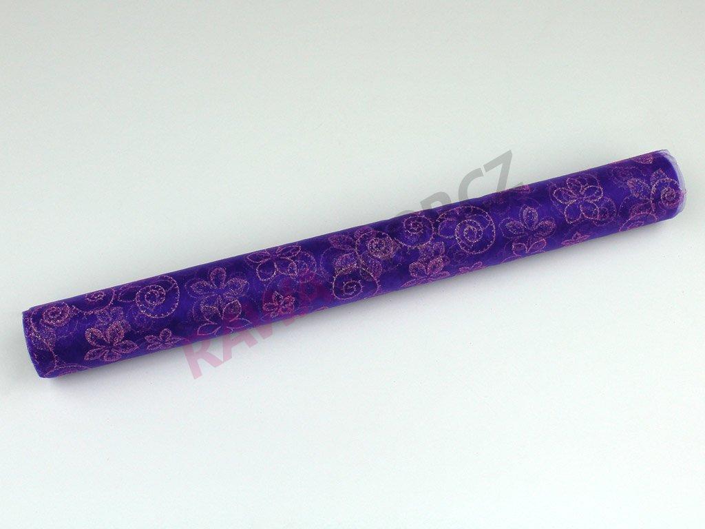 Organza s třpytky 36cm - fialová