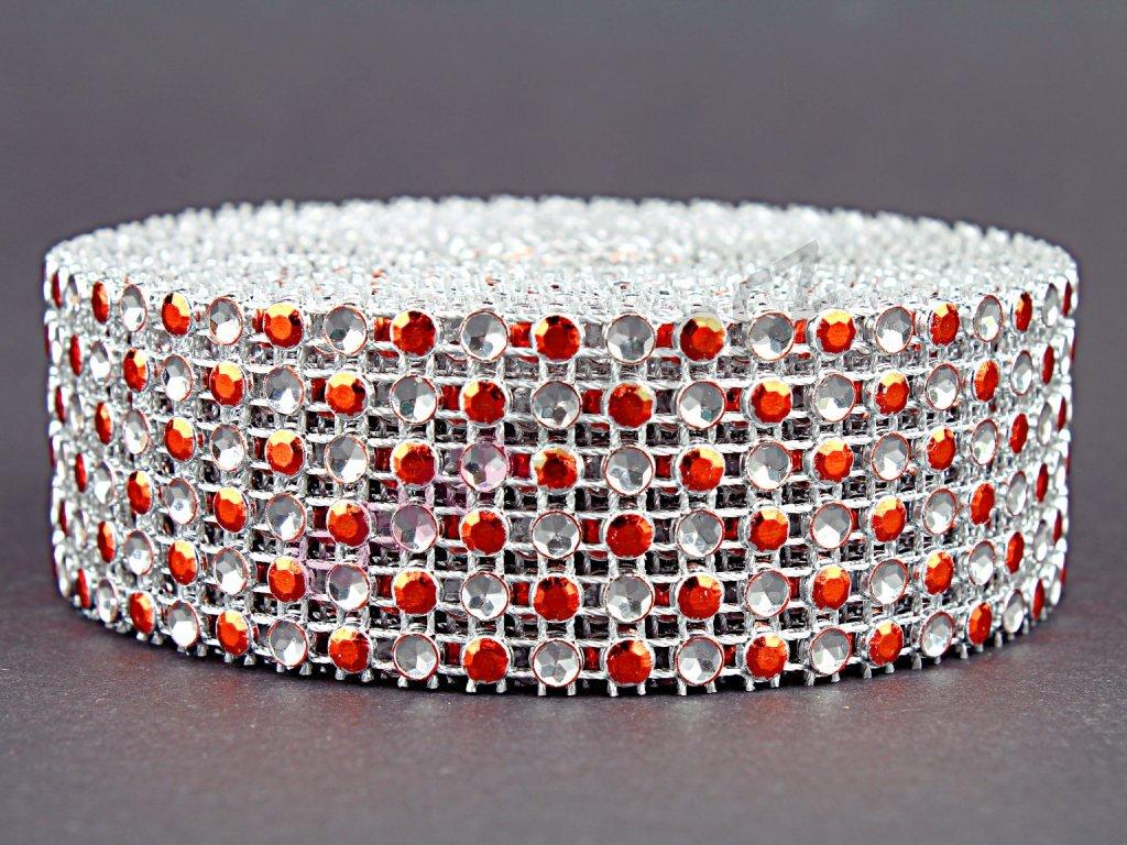 Stuha zirkon 3cm - světle oranžová