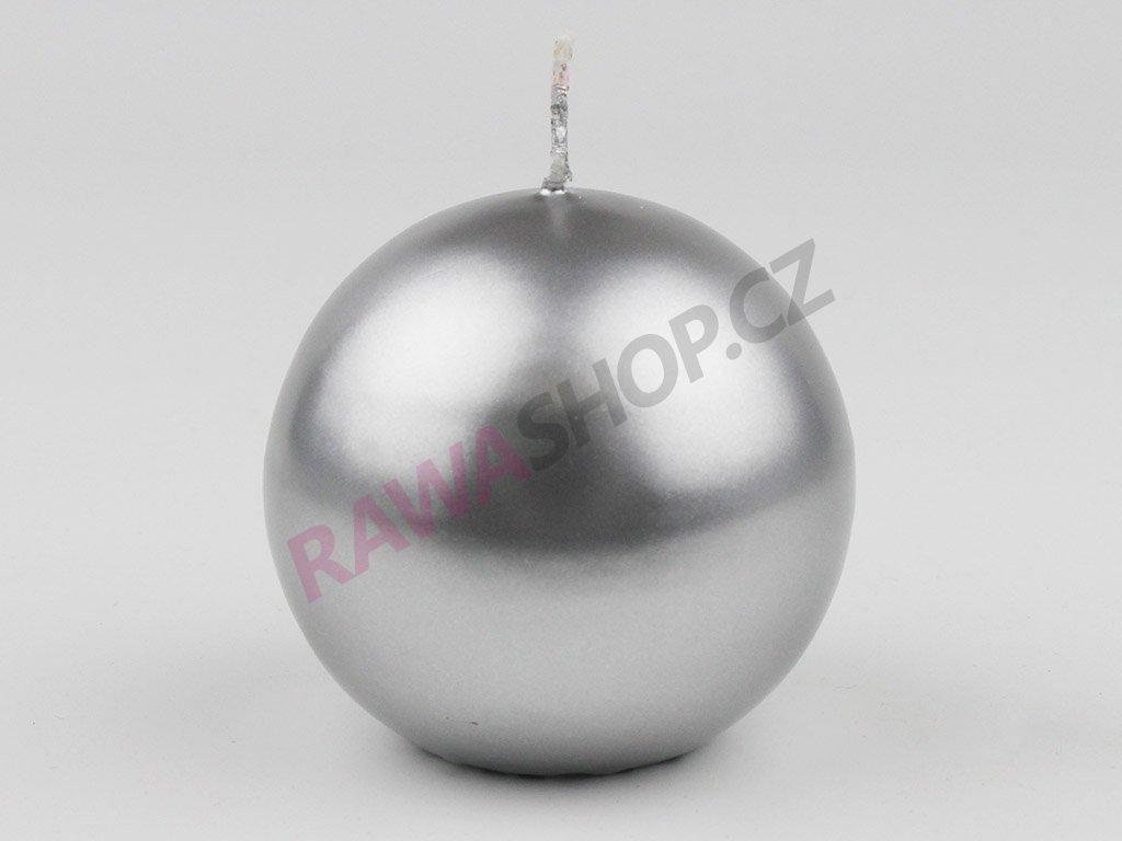 Svíce koule 80 - stříbrná metalická