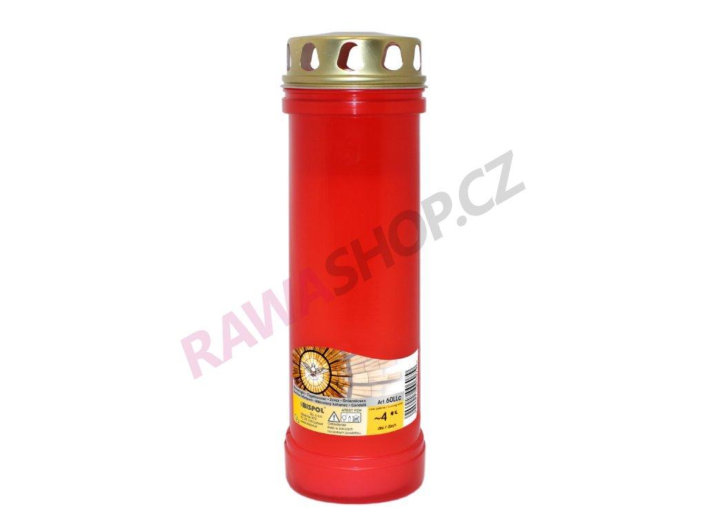 15. Parafínová svíčka se zlatým víčkem vysoká červená B60LL