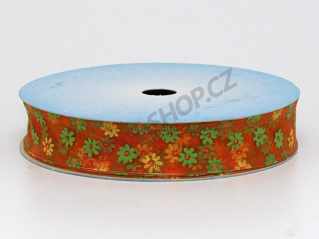 Stuha květy 2cm - oranžová
