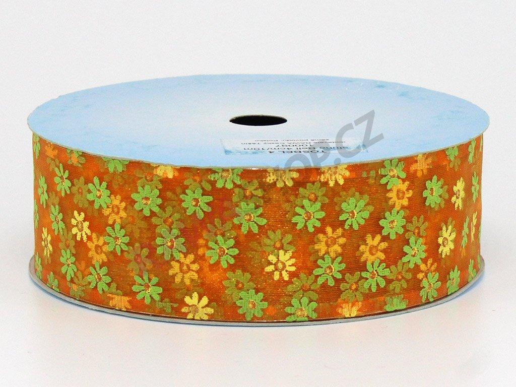 Stuha květy 4cm - oranžová