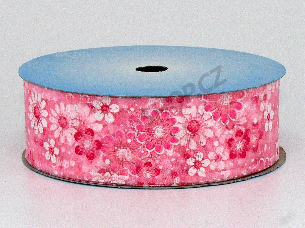 Stuha květy 4cm - růžová