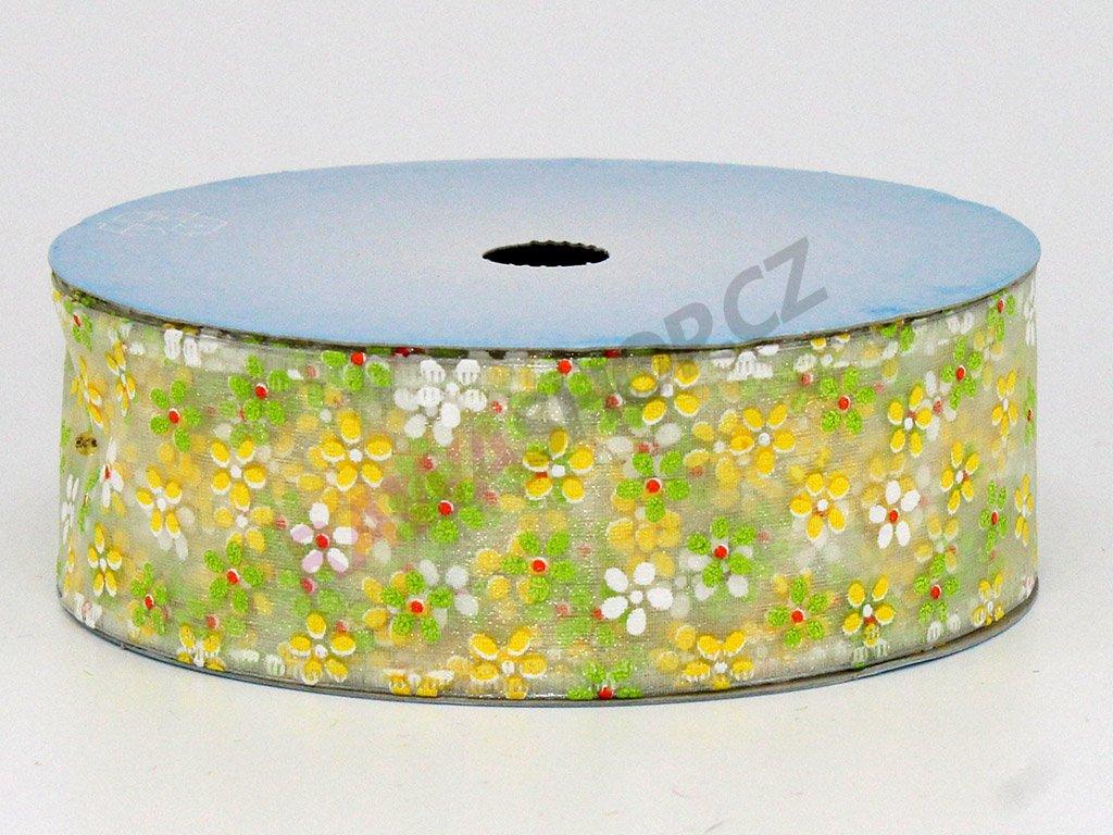 Stuha květy 4cm - bílá