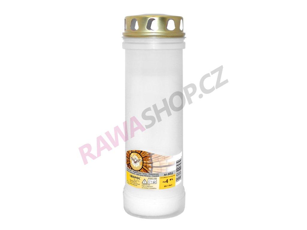 14. Parafínová svíčka se zlatým víčkem vysoká bílá B60LL B