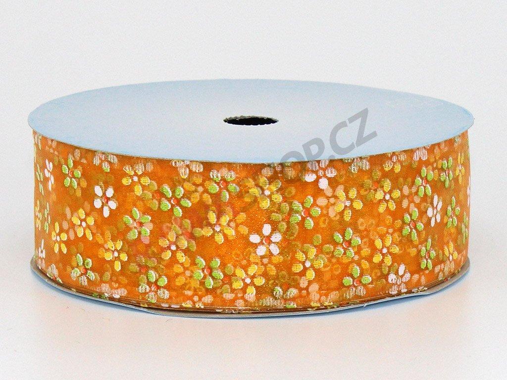 Stuha květy 4cm - světle oranžová