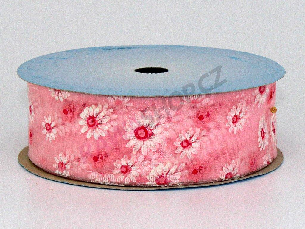 Stuha květy 4cm - světle růžová