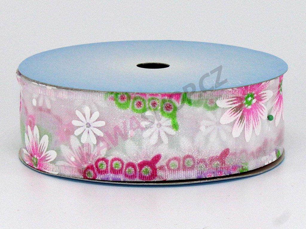 Stuha motýl 4cm - růžová