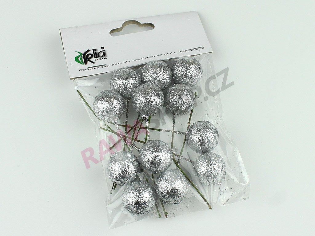 Vánoční přízdoba koule 12ks - stříbrná