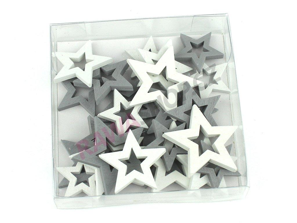 Hvězdičky 24ks - šedá, bílá