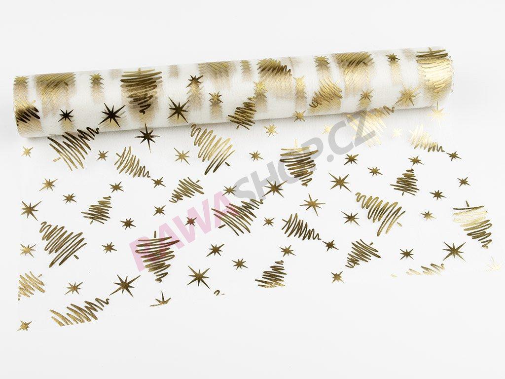 Organza 39cm - ecru-gold