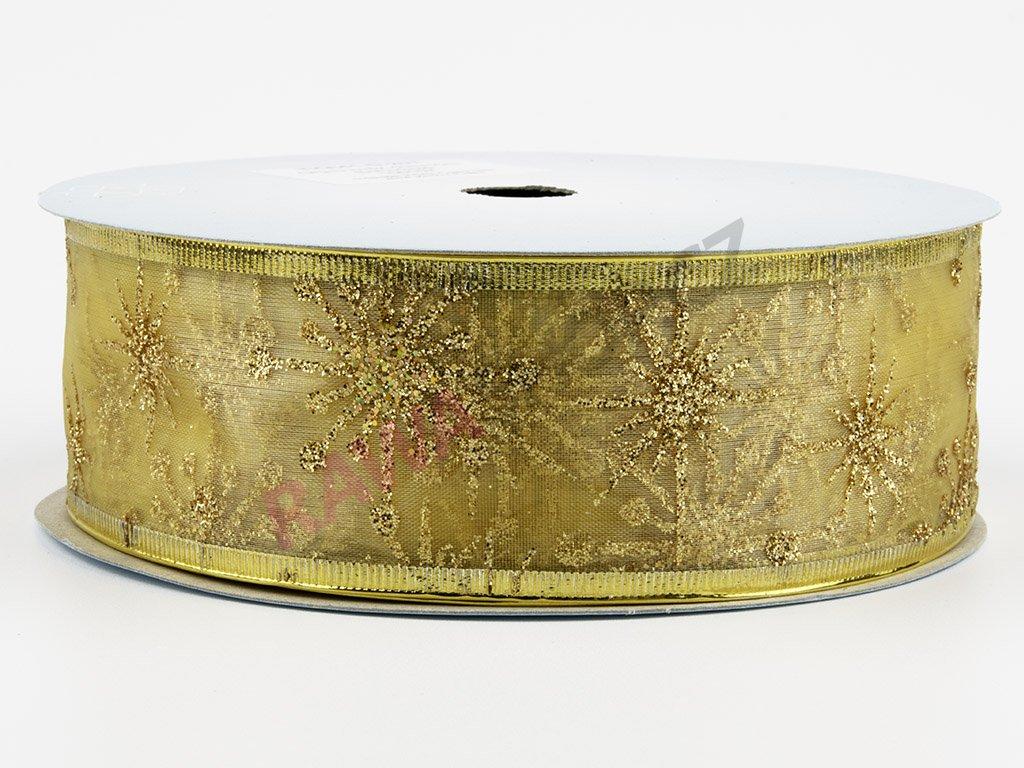 Organzová stuha 4cm - ecru-gold
