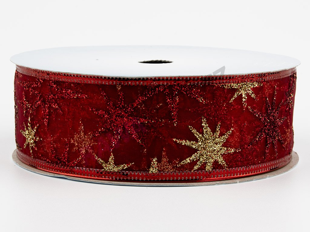 Organzová stuha 4cm - red-gold 3