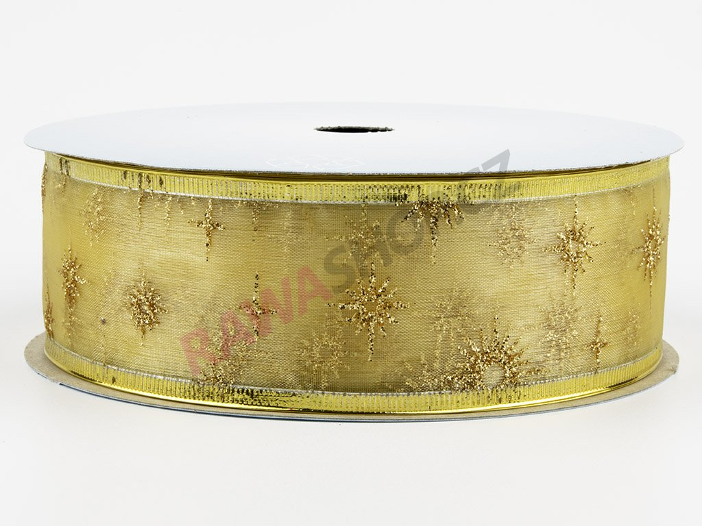 Organzová stuha 4cm - ecru-gold 2