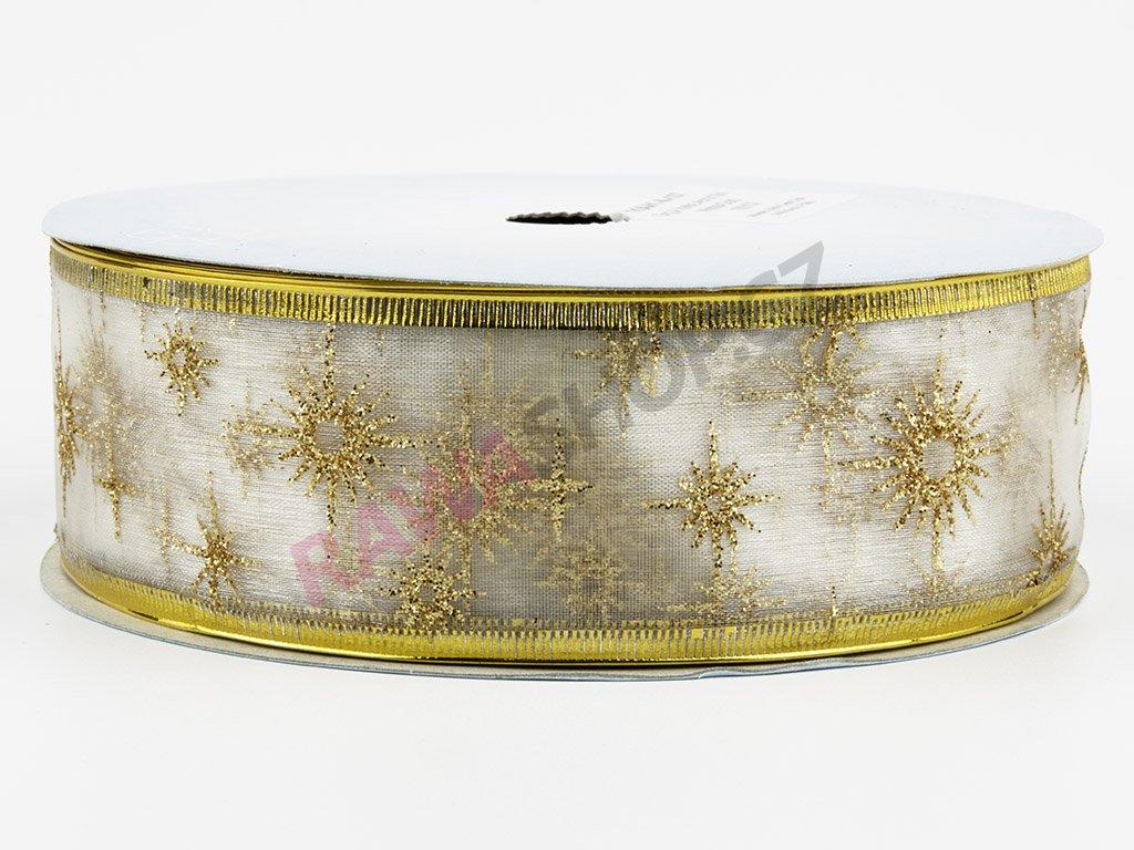 Organzová stuha 4cm - white-gold