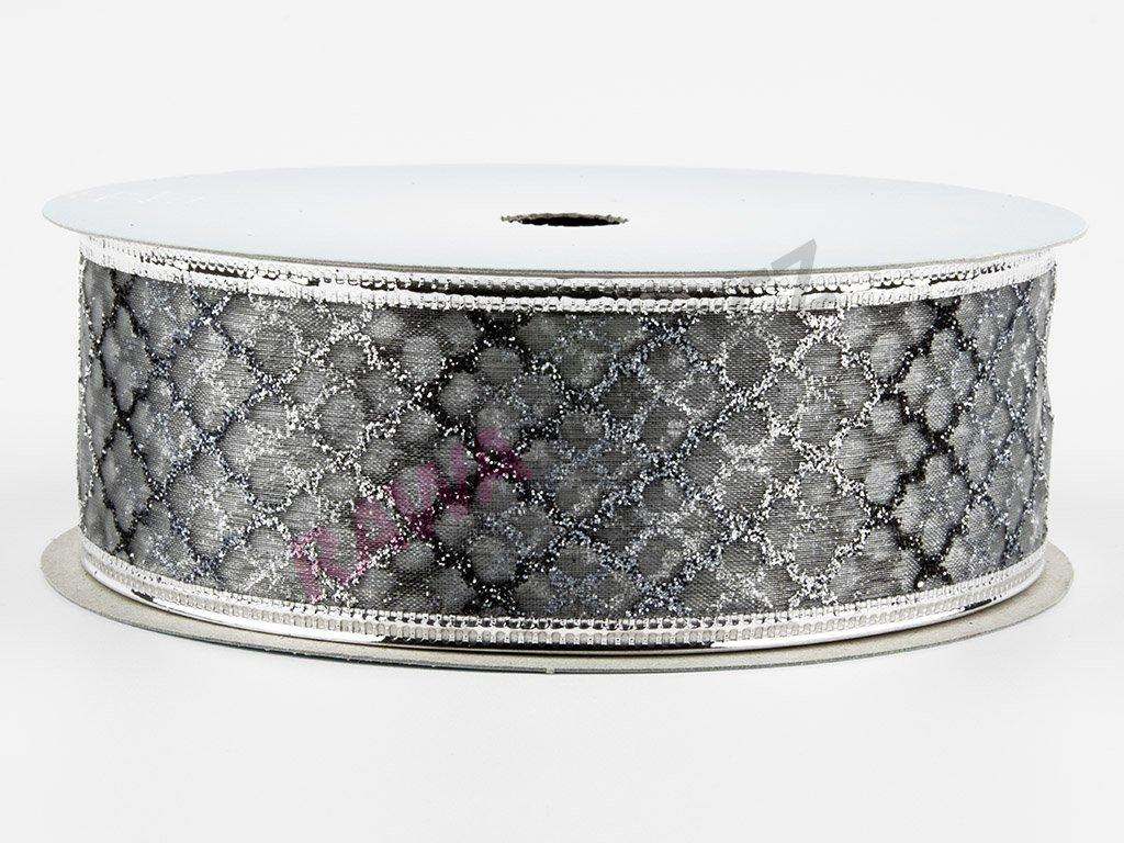 Organzová stuha 4cm - silver-silver