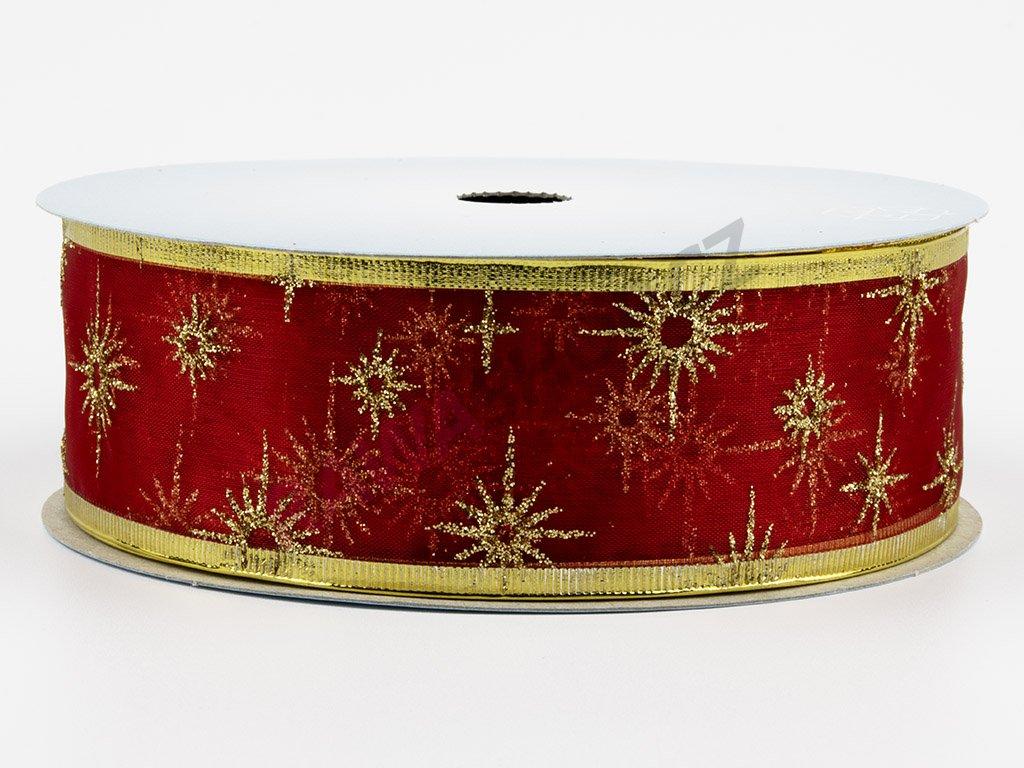 Organzová stuha 4cm - red-gold 2