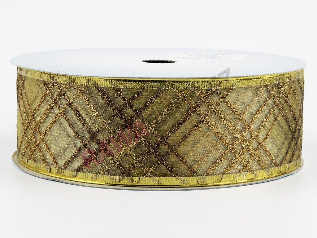 Organzová stuha 4cm - gold-gold