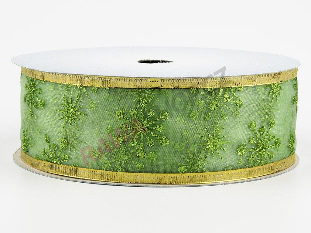 Organzová stuha 4cm - green-gold