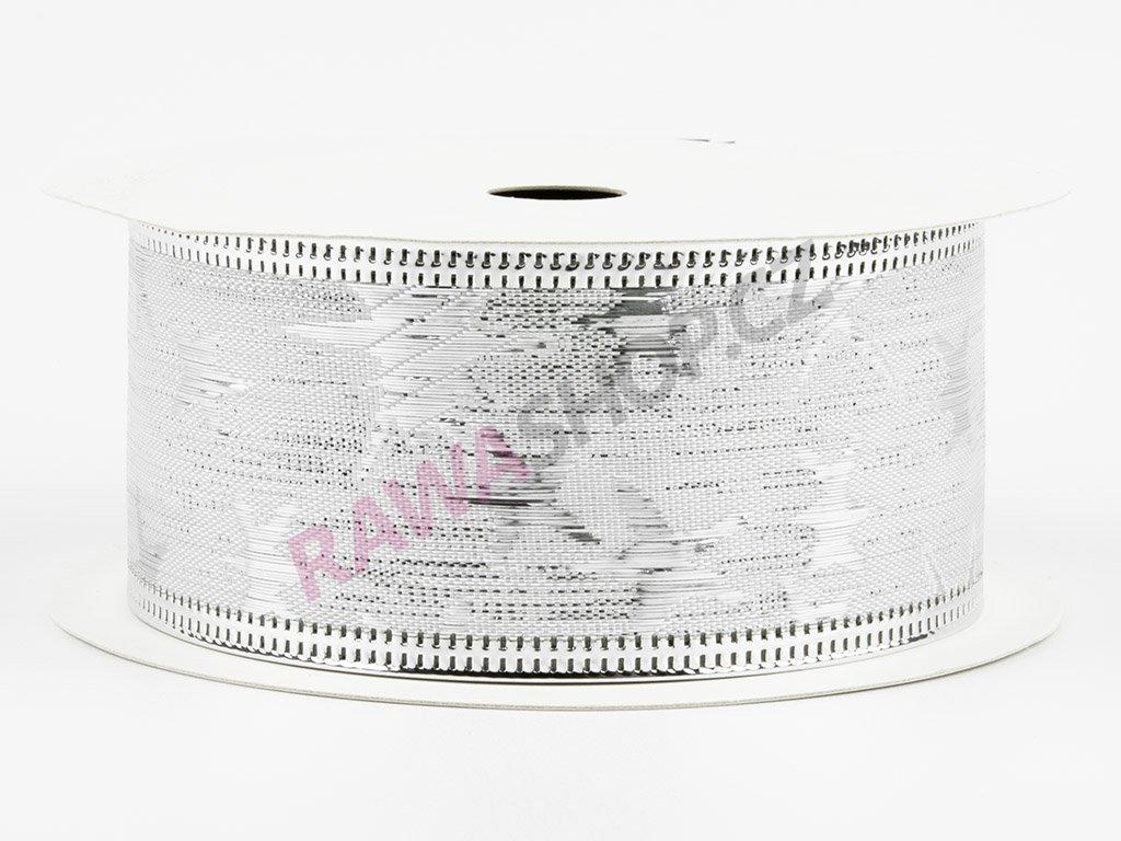 Bavlněná stuha 4cm - silver-silver
