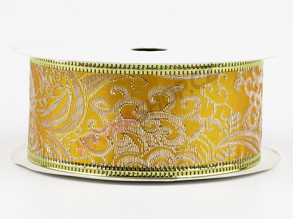 Bavlněná stuha 4cm - ecru-golden 2