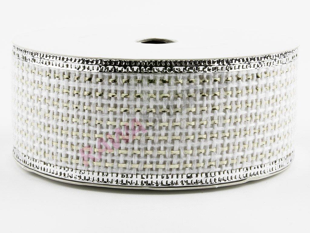 Jutová stuha 4cm - white-silver 3