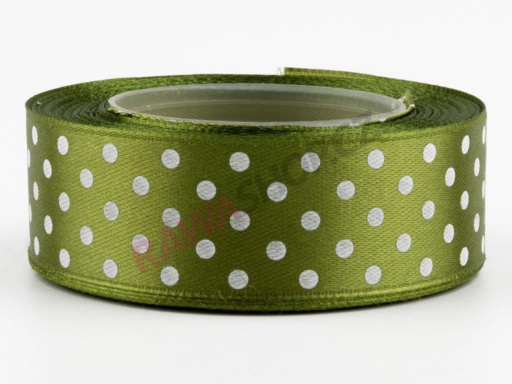 Saténová tečkovaná stuha 2,5cm - dark olive green