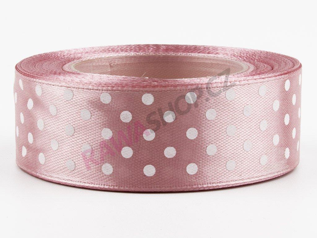 Saténová tečkovaná stuha 2,5cm - autumn pink