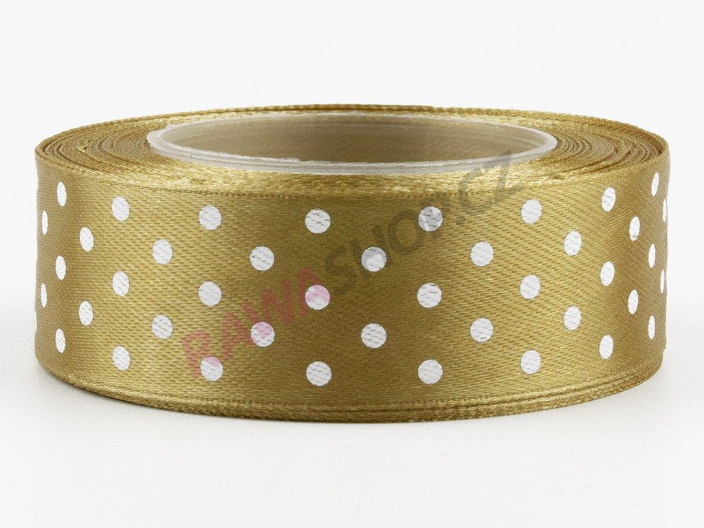 Saténová tečkovaná stuha 2,5cm - gold