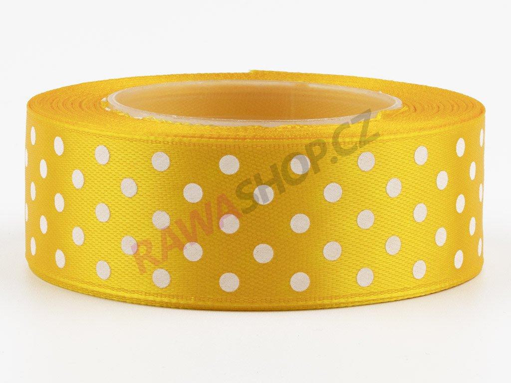 Saténová tečkovaná stuha 2,5cm - dark yellow