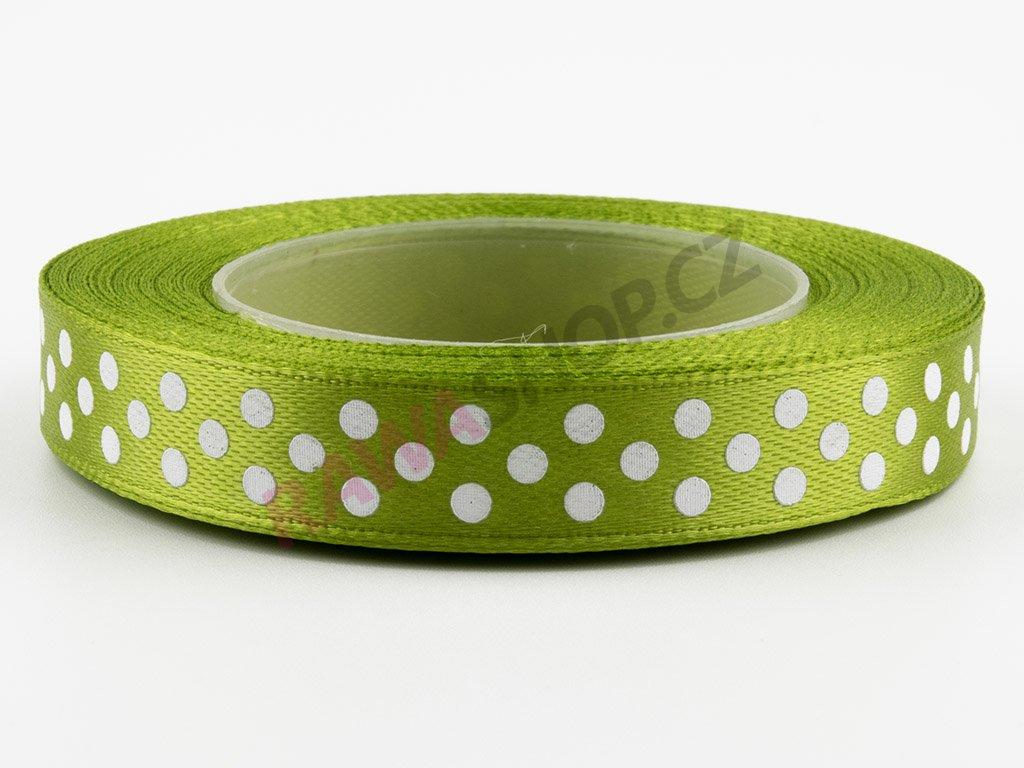 Saténová tečkovaná stuha 1,2cm - olive green
