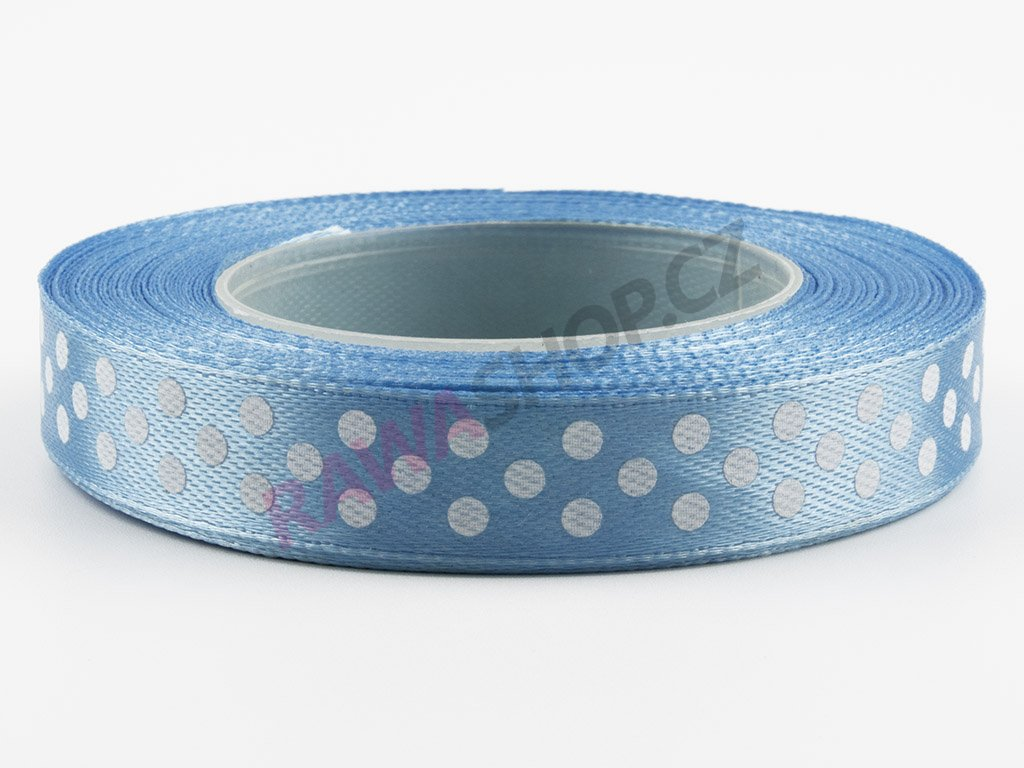 Saténová tečkovaná stuha 1,2cm - blue
