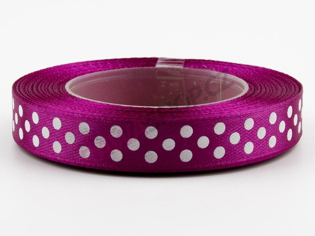 Saténová tečkovaná stuha 1,2cm - purple