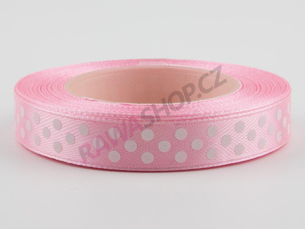Saténová tečkovaná stuha 1,2cm - pink