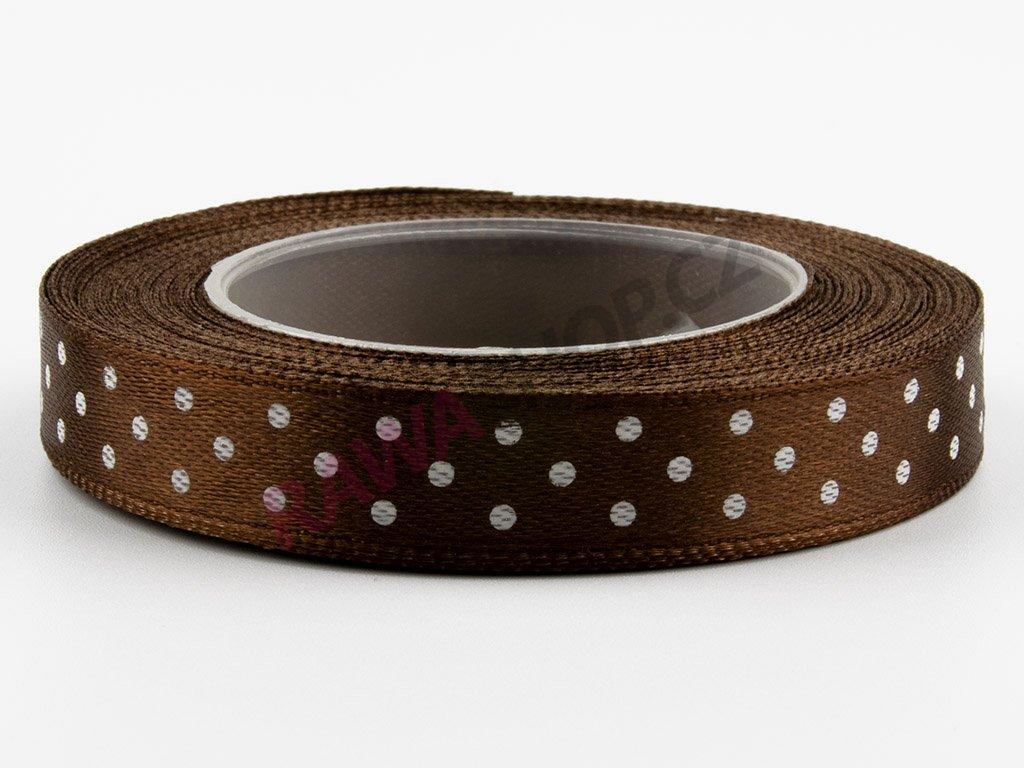 Saténová tečkovaná stuha 1,2cm - brown