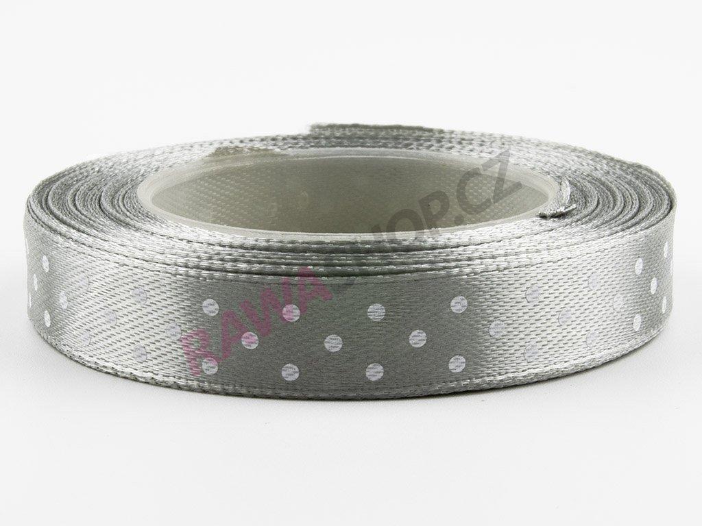 Saténová tečkovaná stuha 1,2cm - ice silver
