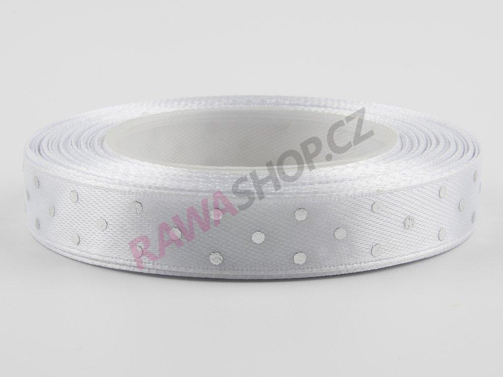 Saténová tečkovaná stuha 1,2cm - white