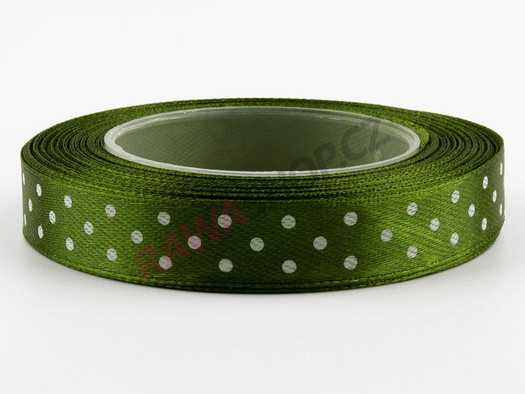 Saténová tečkovaná stuha 1,2cm - dark olive green