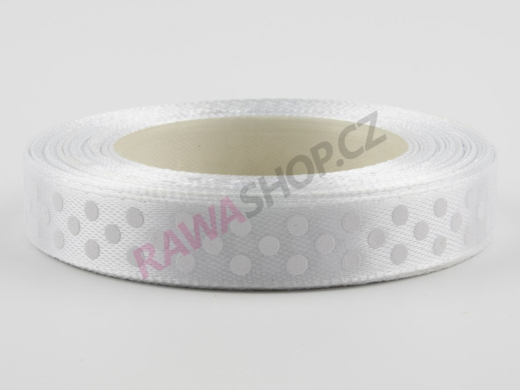 Saténová tečkovaná stuha 1,2cm - white 2