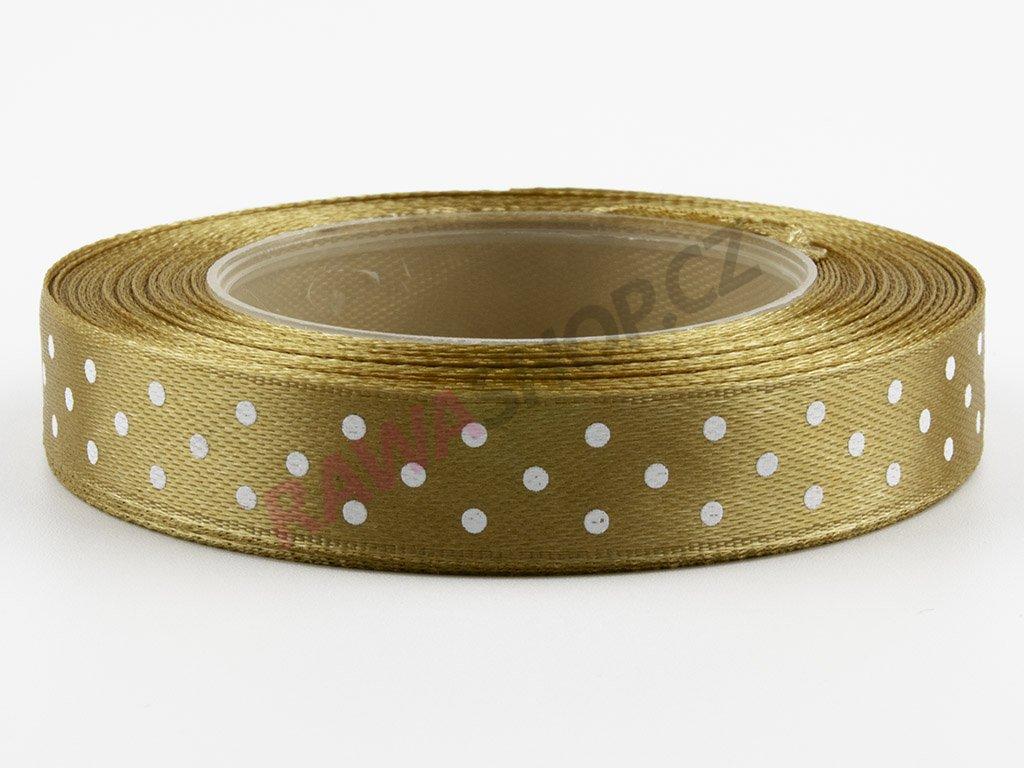 Saténová tečkovaná stuha 1,2cm - gold