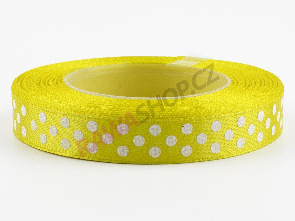 Saténová tečkovaná stuha 1,2cm - yellow