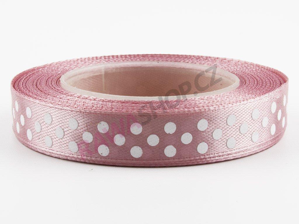 Saténová tečkovaná stuha 1,2cm - autumn pink