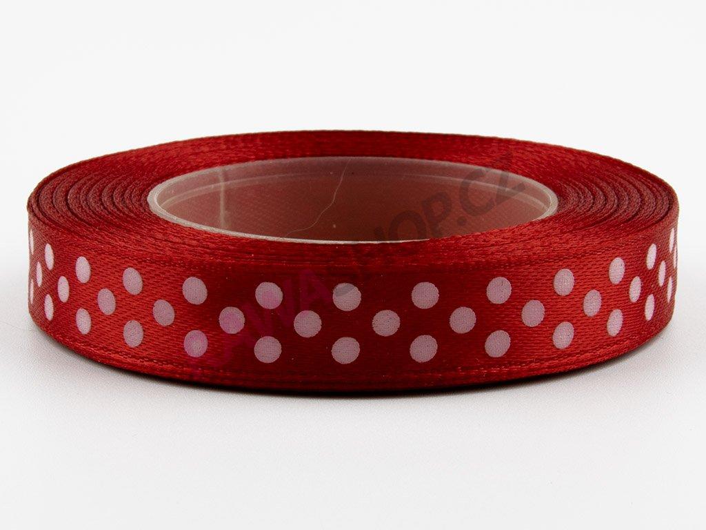 Saténová tečkovaná stuha 1,2cm - red